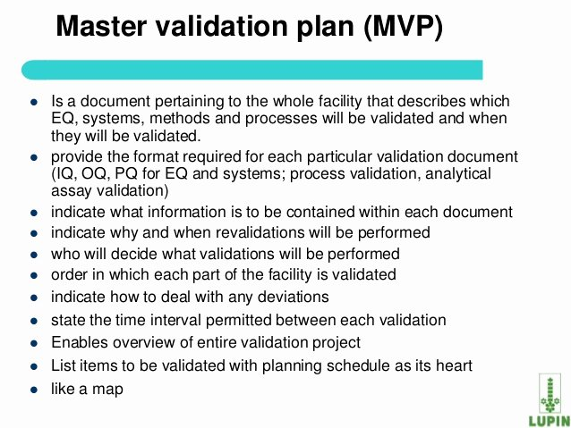 Validation Master Plan Template Inspirational Process Validation Of Api