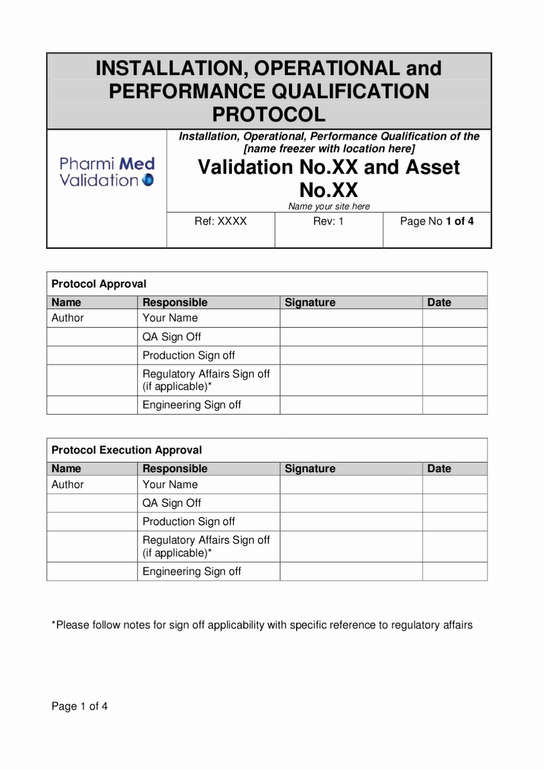 Validation Master Plan Template Lovely Iopq Freezer Validation Template Sample by Pharmi Med