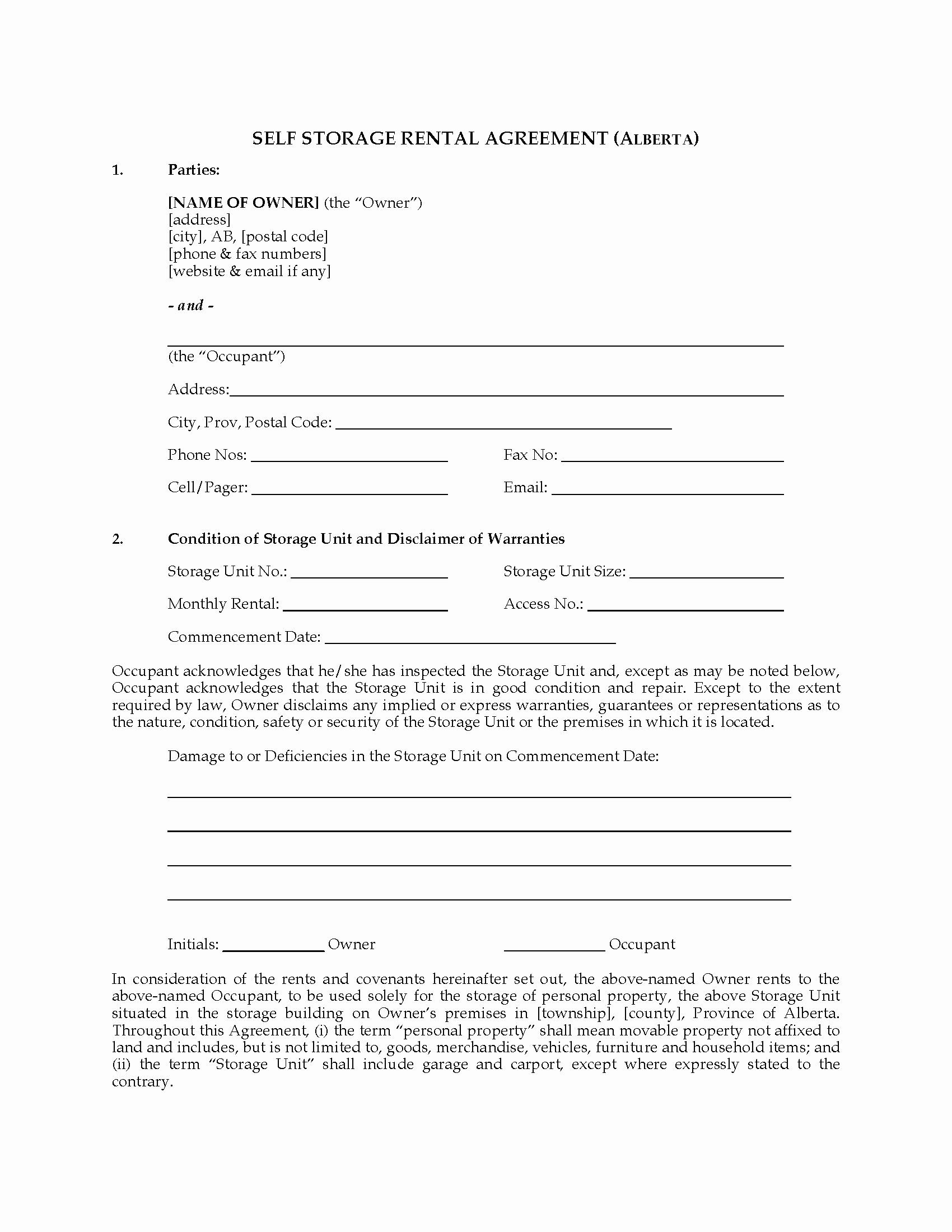 Vehicle Storage Agreement Template Awesome Alberta Self Storage Rental Agreement