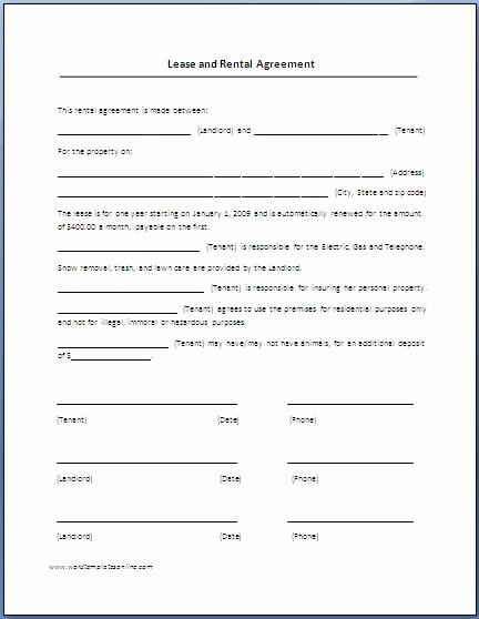 Vehicle Storage Agreement Template Awesome Renters Lease Agreement