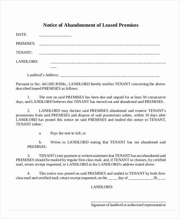 Vehicle Storage Agreement Template Beautiful 14 Abandonment Notice Templates – Pdf Word