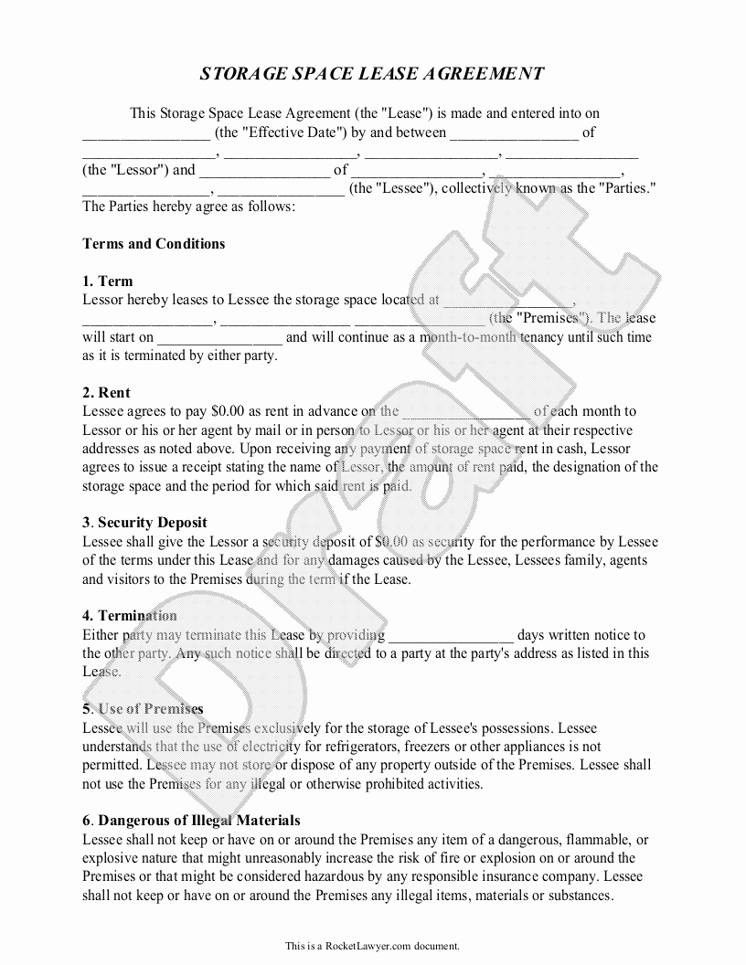 Vehicle Storage Agreement Template Beautiful Notice to Vacate Storage Unit Letter