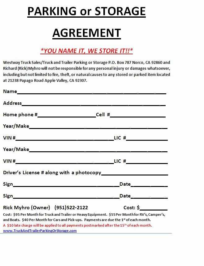 Vehicle Storage Agreement Template Best Of 29 Of Rv Storage Contract Free Template