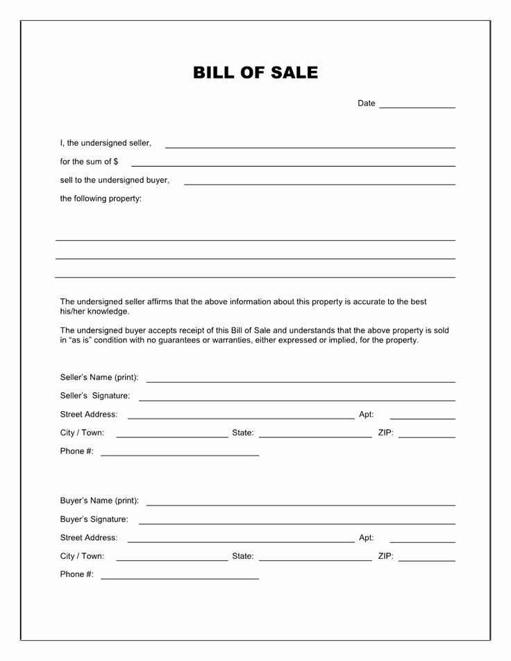 Vehicle Storage Agreement Template Elegant Free Printable Blank Bill Of Sale form Template as is