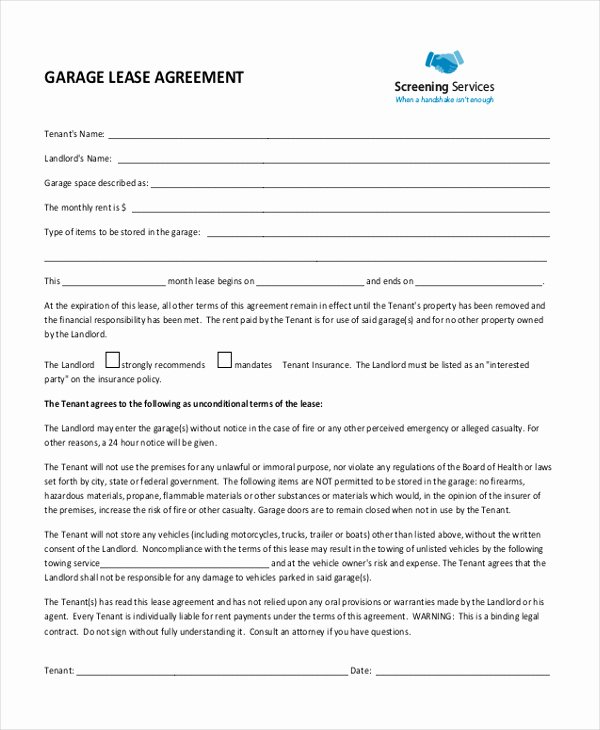 Vehicle Storage Agreement Template Fresh Garage Lease Agreement