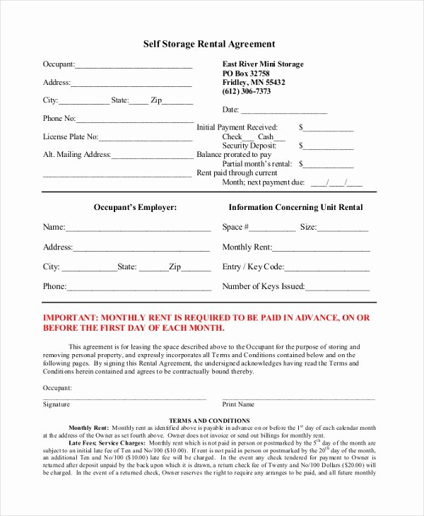 Vehicle Storage Contract Template Best Of Sample Rental Agreement Month to Month form 8 Free