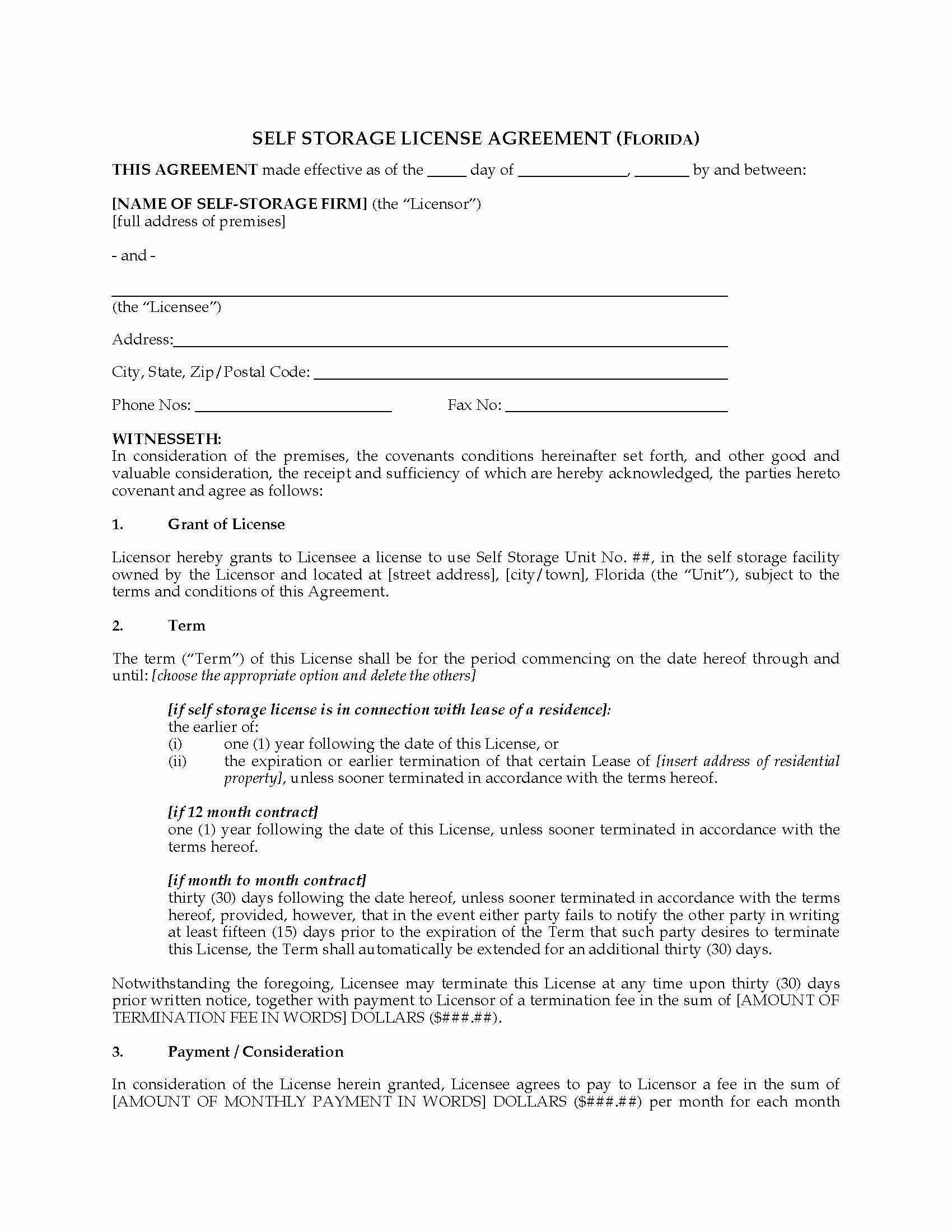 Vehicle Storage Contract Template Elegant Florida Self Storage License Agreement