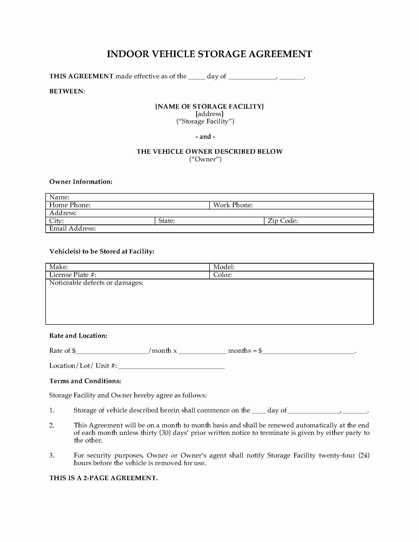 Vehicle Storage Contract Template Inspirational Missouri Vehicle Storage Agreement