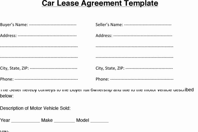 Vehicle Storage Contract Template Lovely Download Car Lease Agreement for Free Tidytemplates