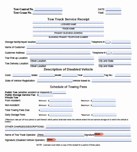 Vehicle Storage Contract Template Lovely towing Invoice Pdf