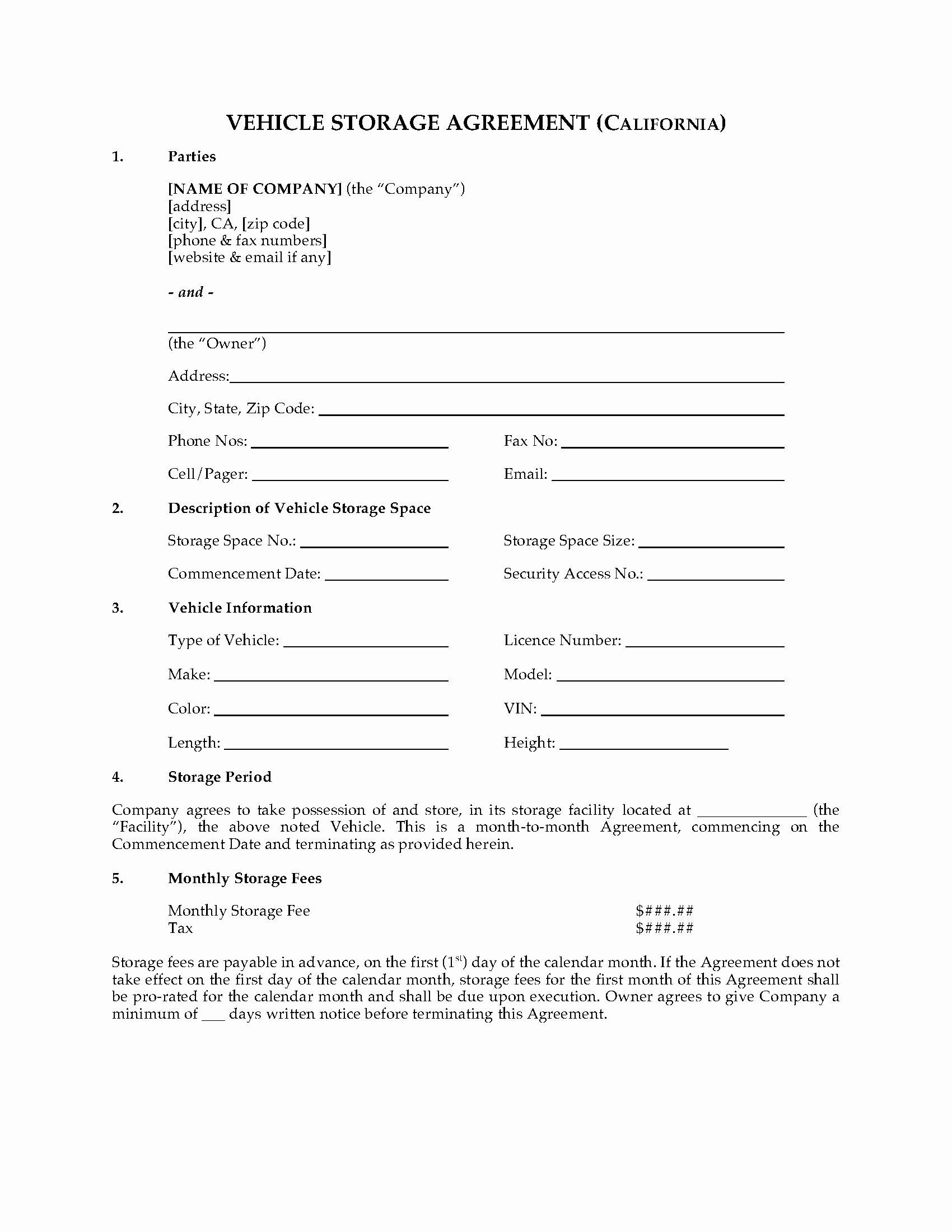 Vehicle Storage Contract Template Luxury California Vehicle Storage Agreement