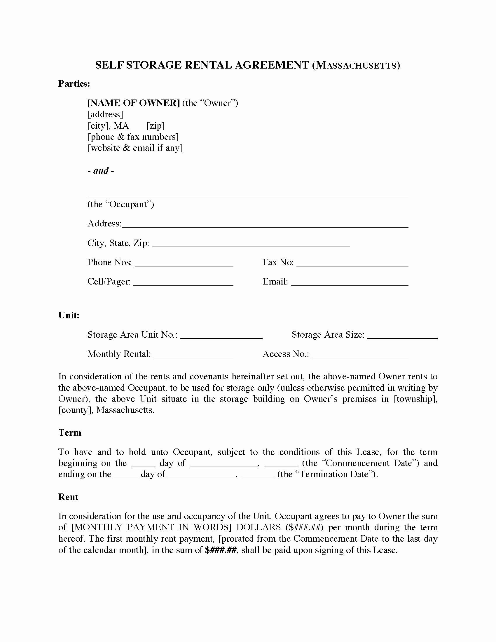 Vehicle Storage Contract Template Unique Massachusetts Self Storage Rental Agreement