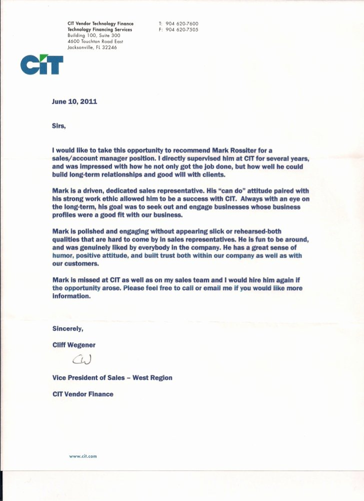 Vendor Recommendation Letter Sample Fresh Wegener Letter Re Mendation