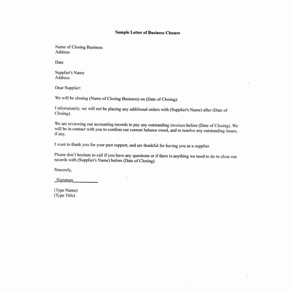 Vendor Recommendation Letter Sample Inspirational Free Sample Letter Of Business Closure for Your Partners