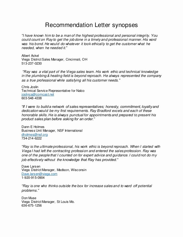 Vendor Recommendation Letter Sample Inspirational Re Mendation Letter Summaries 2 10 2016
