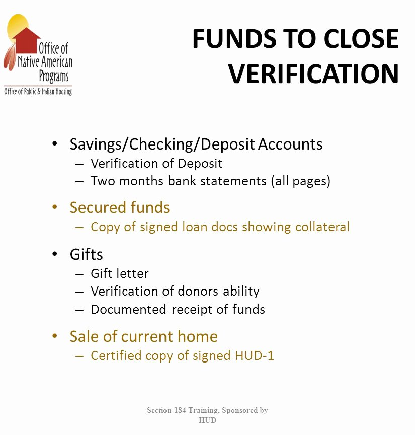 Verification Of Funds Letter Template Beautiful Section 184 Indian Housing Loan Guarantee Program Ppt