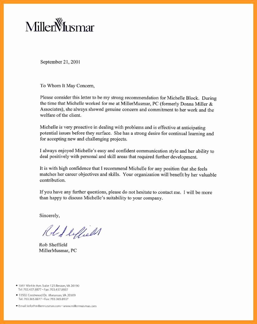 Virginia Tech Letter Of Recommendation Inspirational Letter Of Re Mendation for Manager