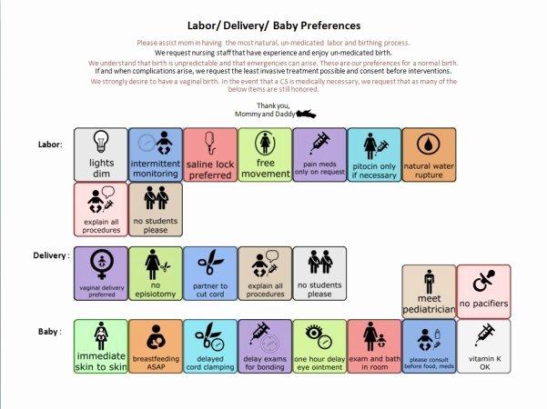Visual Birth Plan Template Luxury Visual Birth Plan Preferences so Cool Babycenter
