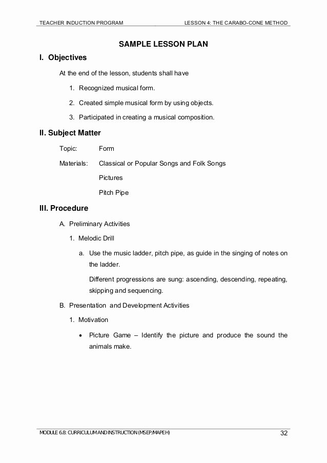 Vocal Lesson Plan Template Best Of Module 6 8 Mapeh