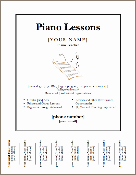 Vocal Lesson Plan Template Inspirational Just Added Piano Lessons Flyer Template Color In My Piano