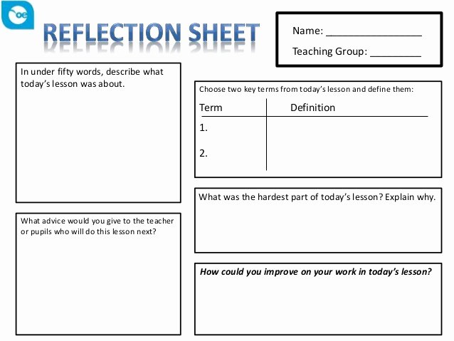 Vocal Lesson Plan Template New Reflection Sheet