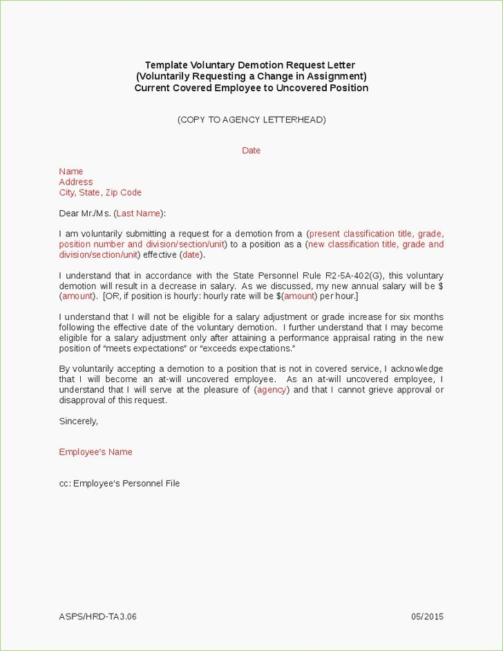 Voluntary Demotion Letter Sample Lovely Demotion Letter format – thepizzashop