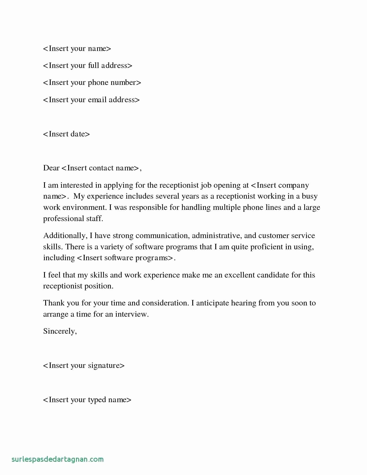 Voluntary Demotion Letter Sample Unique 26 Medical Receptionist Cover Letter