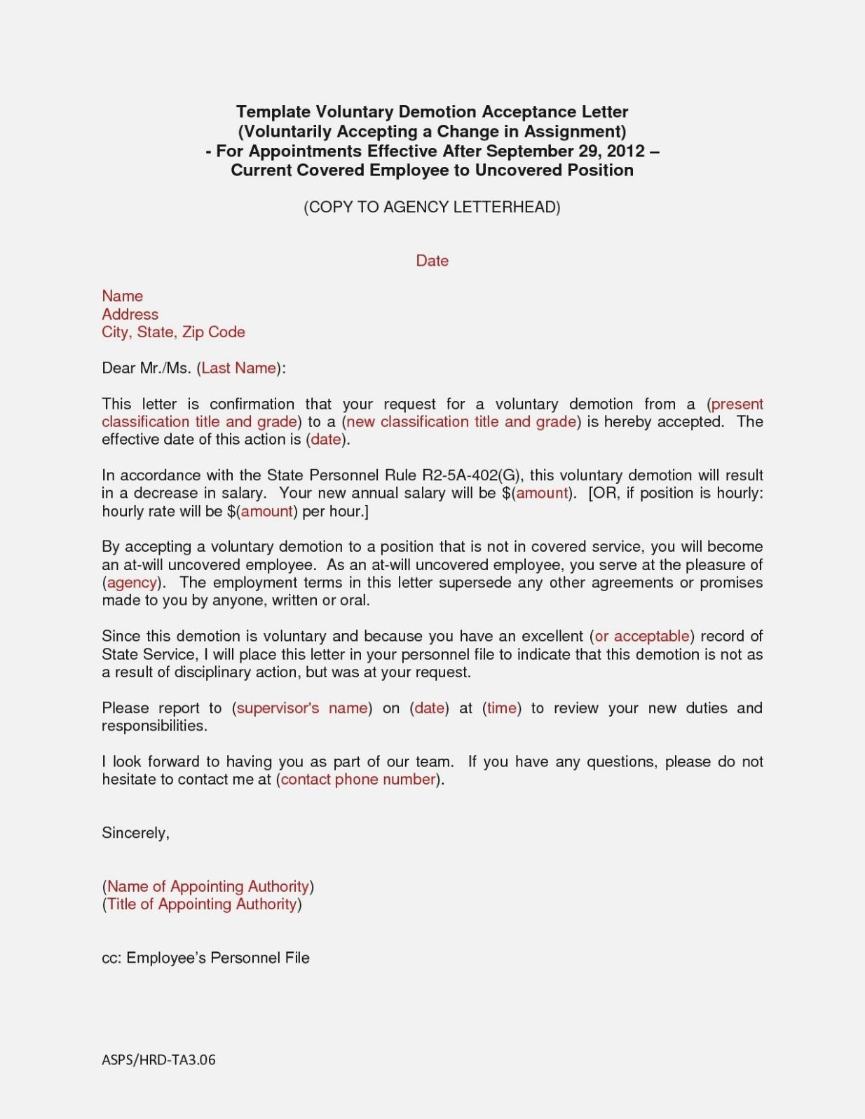 Voluntary Demotion Letter Template Lovely Demotion Letter Template Voluntary Sample Fresh