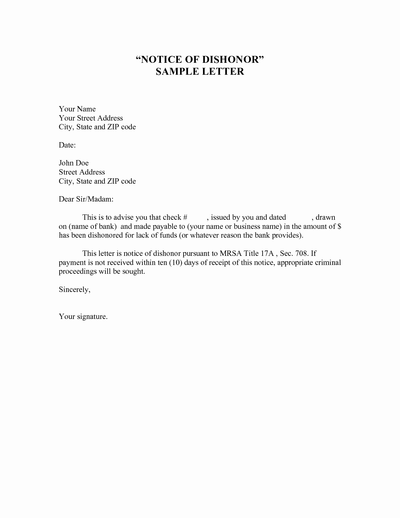 Voluntary Demotion Letter Template Unique 10 Best Of Notice Letter Template Payment Notice