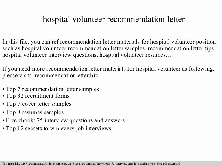 Volunteer Letter Of Recommendation Beautiful Hospital Volunteer Re Mendation Letter