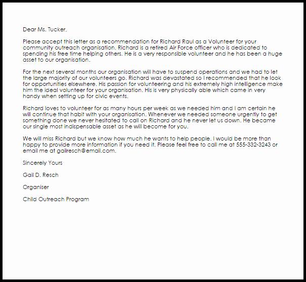 Volunteer Letter Of Recommendation Best Of Volunteer Re Mendation Letter Example