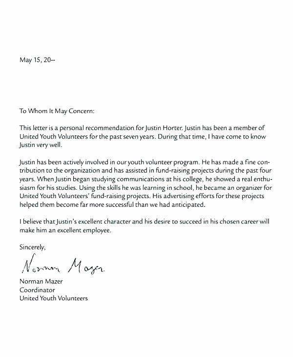 Volunteer Letter Of Recommendation Elegant Examples Sample Volunteer Hours Letter Munity Service