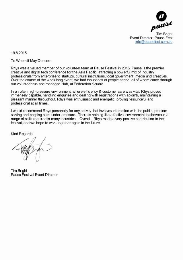 Volunteer Letter Of Recommendation Lovely Pause Festival Re Mendation Letter for Volunteers