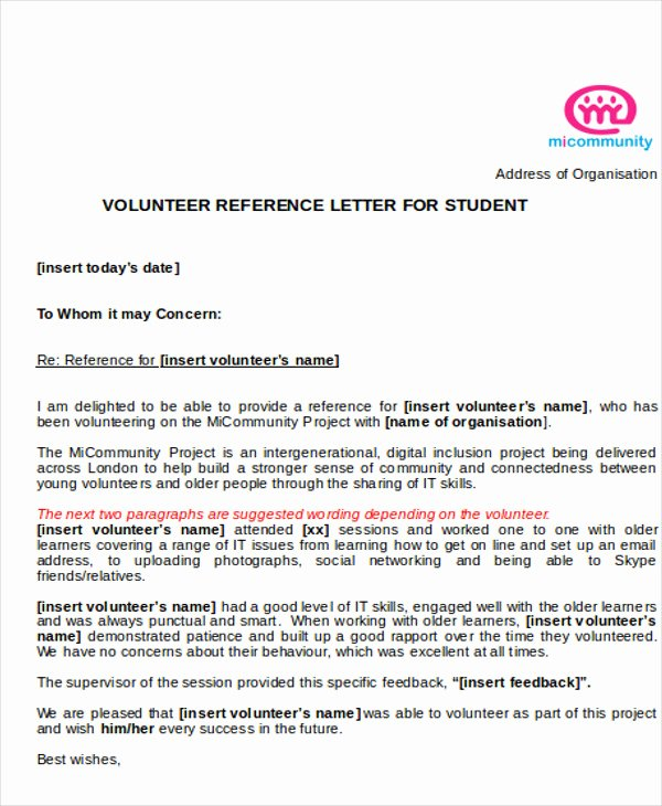 Volunteer Letter Of Recommendation Sample Awesome 7 Sample Reference Letter for Students