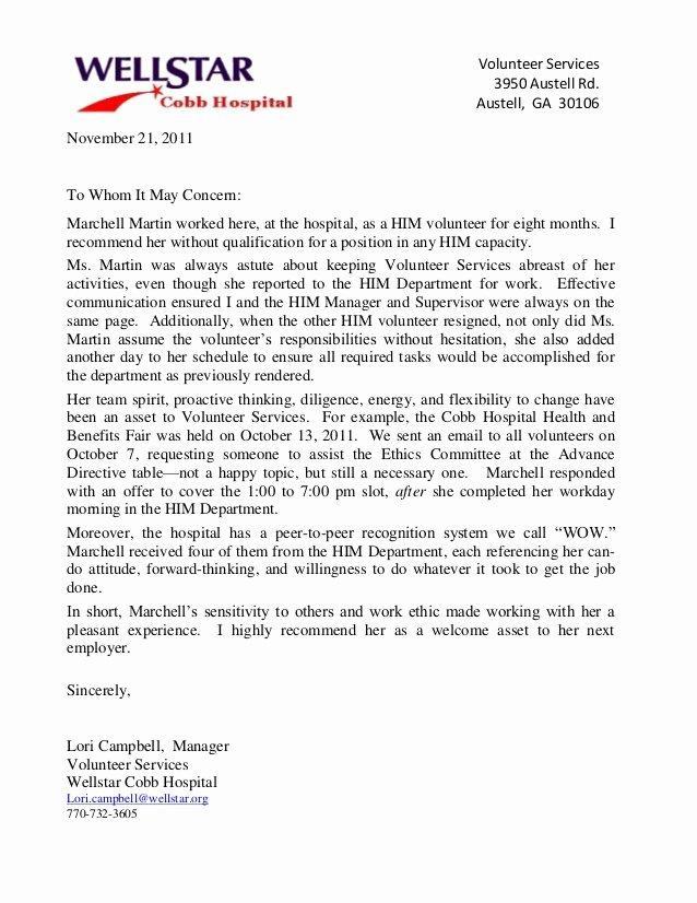 Volunteer Letter Of Recommendation Sample Fresh Reference Letter Wellstar