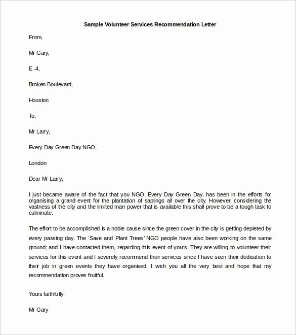 Volunteer Letter Of Recommendation Sample New 30 Re Mendation Letter Templates Pdf Doc