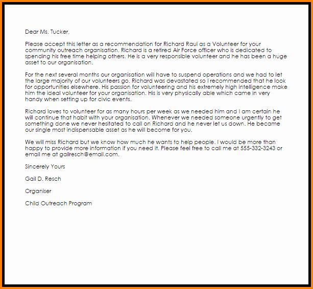 Volunteer Letter Of Recommendation Unique 12 Letter Of Re Mendation for A Volunteer Student