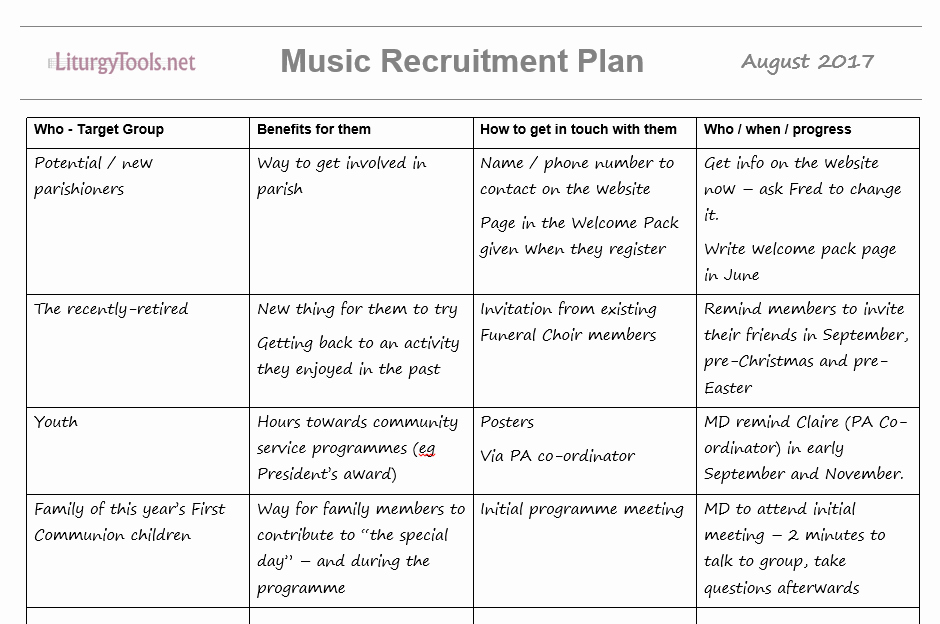 Volunteer Recruitment Plan Template Inspirational Liturgytools Church Music Team Member Recruitment