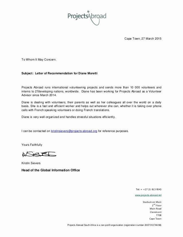 Volunteering Letter Of Recommendation Elegant Diane Moretti Letter Of Re Mendation