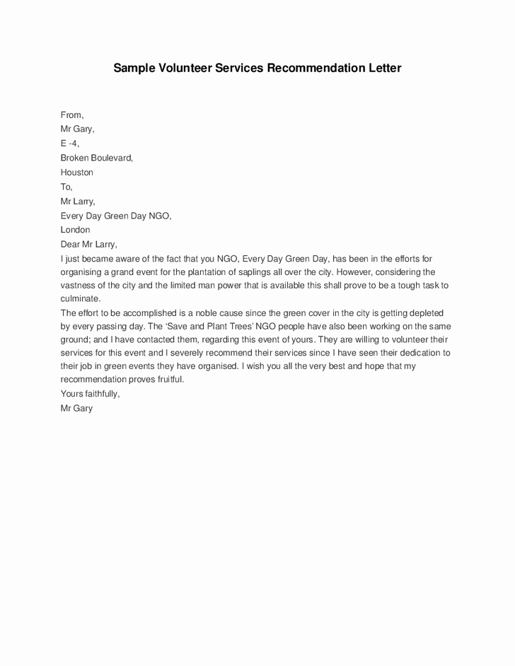 Volunteering Letter Of Recommendation Luxury Letter Re Mendation for Volunteer Service Cover