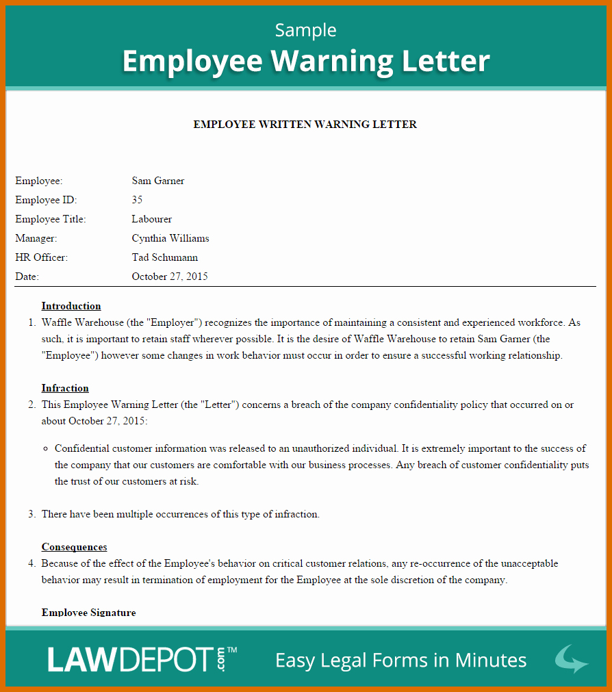 Warn Letter Samples Beautiful 10 11 Warning Letter Template