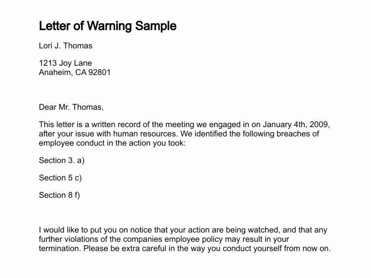 Warn Letter Samples Best Of Letter Of Warning