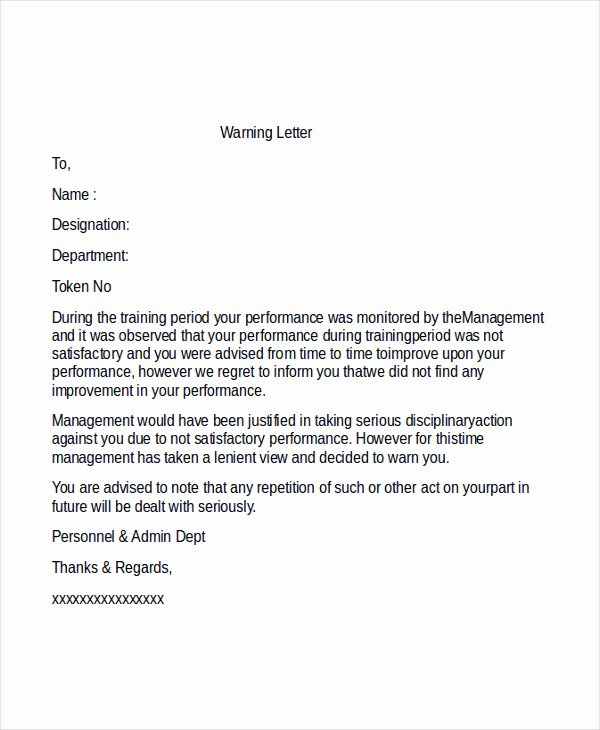 Warn Letter Samples Best Of Professional Warning Letter Template 6 Free Word Pdf