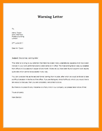 Warn Letter Samples Elegant 11 12 Employee Warning Letter
