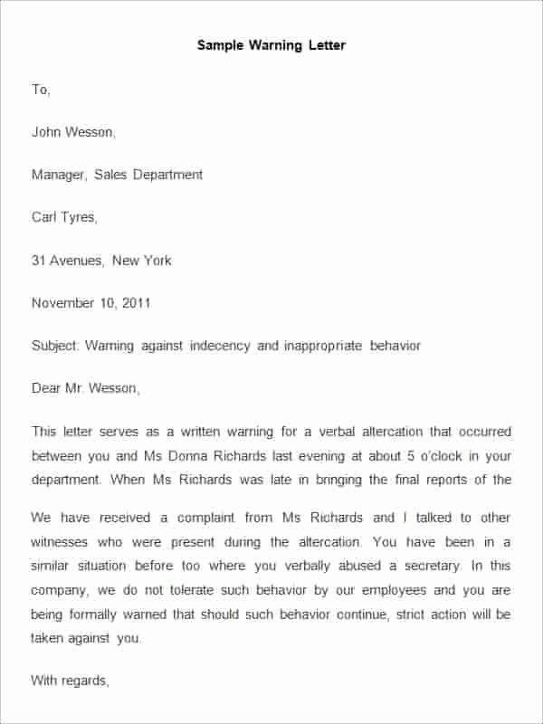Warn Letter Samples Inspirational 32 Hr Warning Letters Pdf Doc