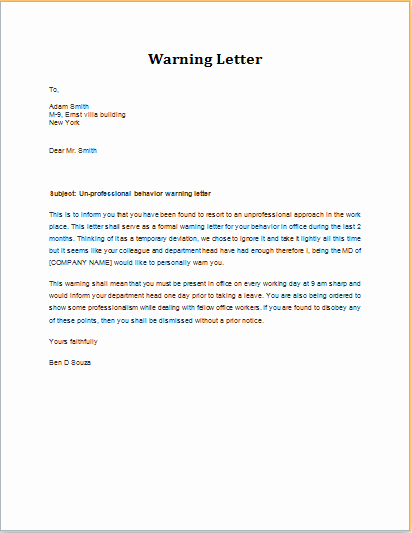 Warn Letter Samples Inspirational Warning Letter for Unprofessional Behavior