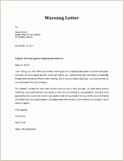 Warn Letter Samples Lovely 7 Professional Warning Letter Templates
