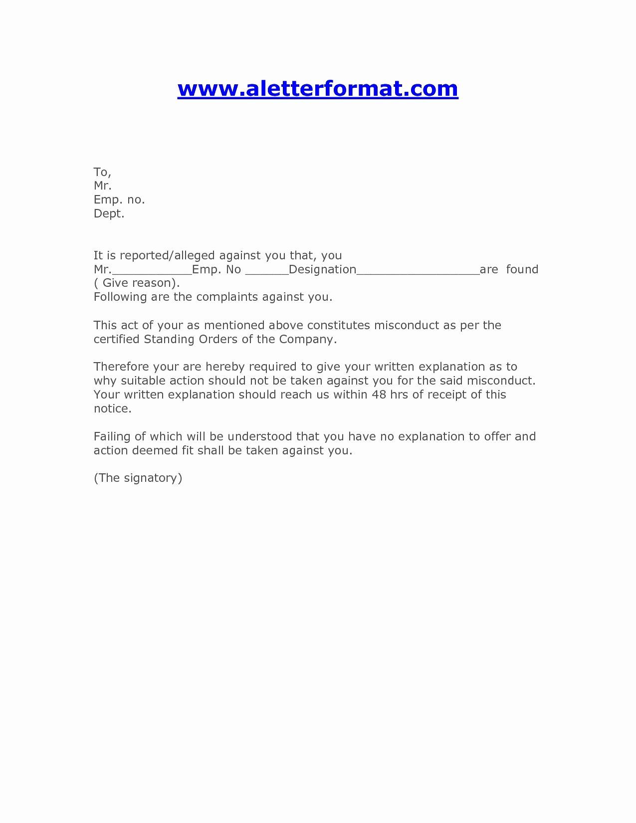 Warn Letter Samples Lovely Sample Employee Warning Letter for Misconduct