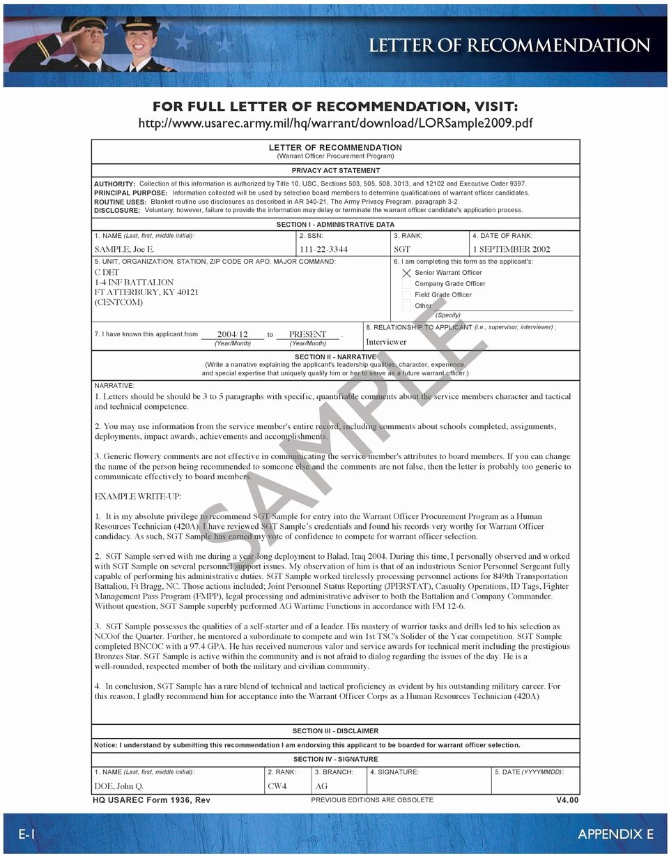 Warrant Officer Letter Of Recommendation Best Of Warrant Officer Application Guide Pdf
