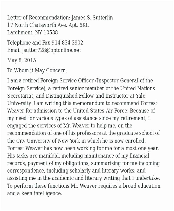 Warrant Officer Letter Of Recommendation Elegant Warrant Ficer Letter Re Mendation Template